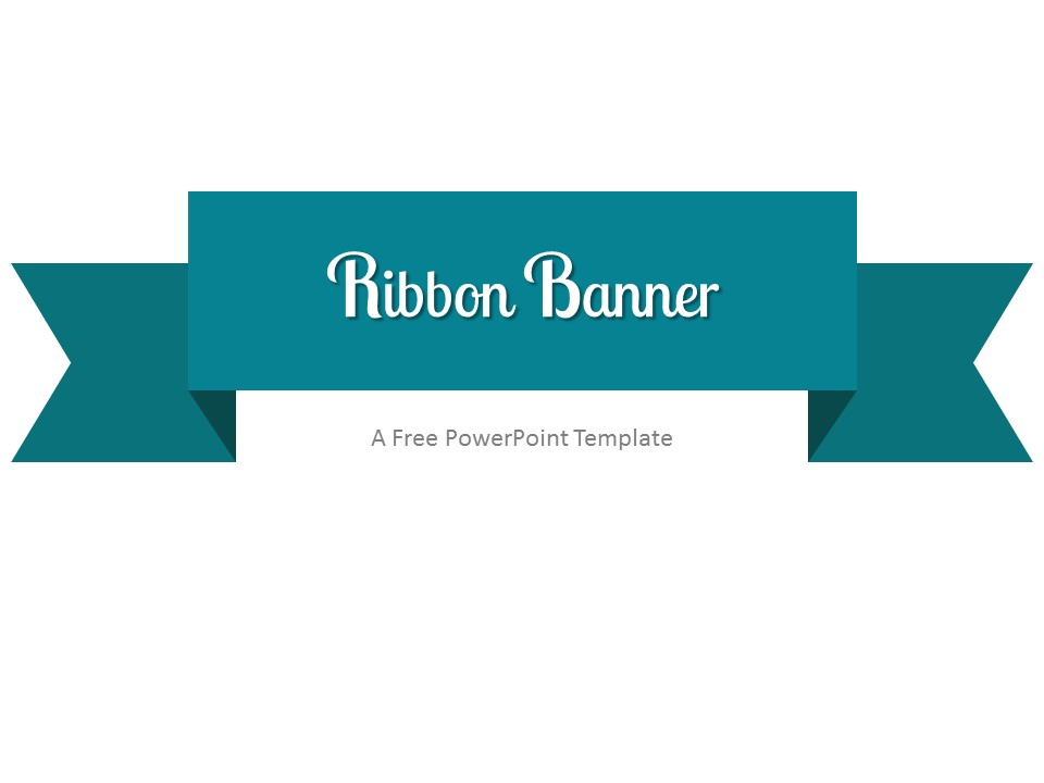 Free Turquoise Ribbon Banner PowerPoint Template