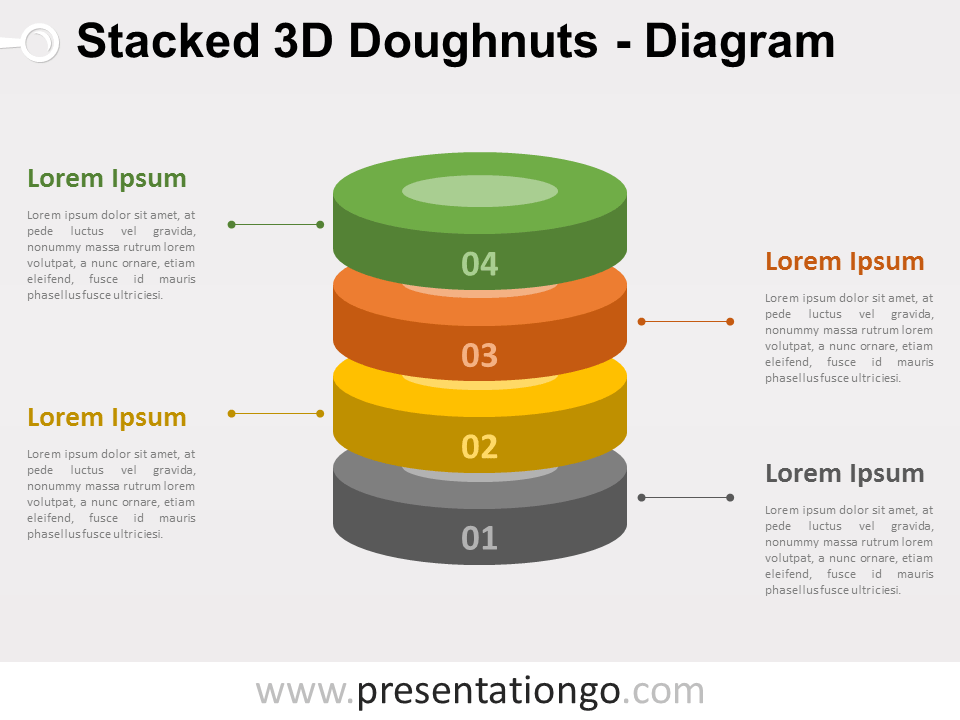 Free 3D Stacked Doughnut PowerPoint Diagram