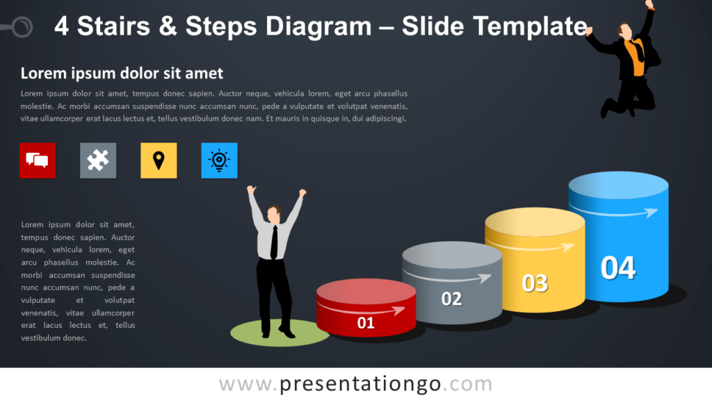 Free 4 Stairs and Steps Diagram for PowerPoint