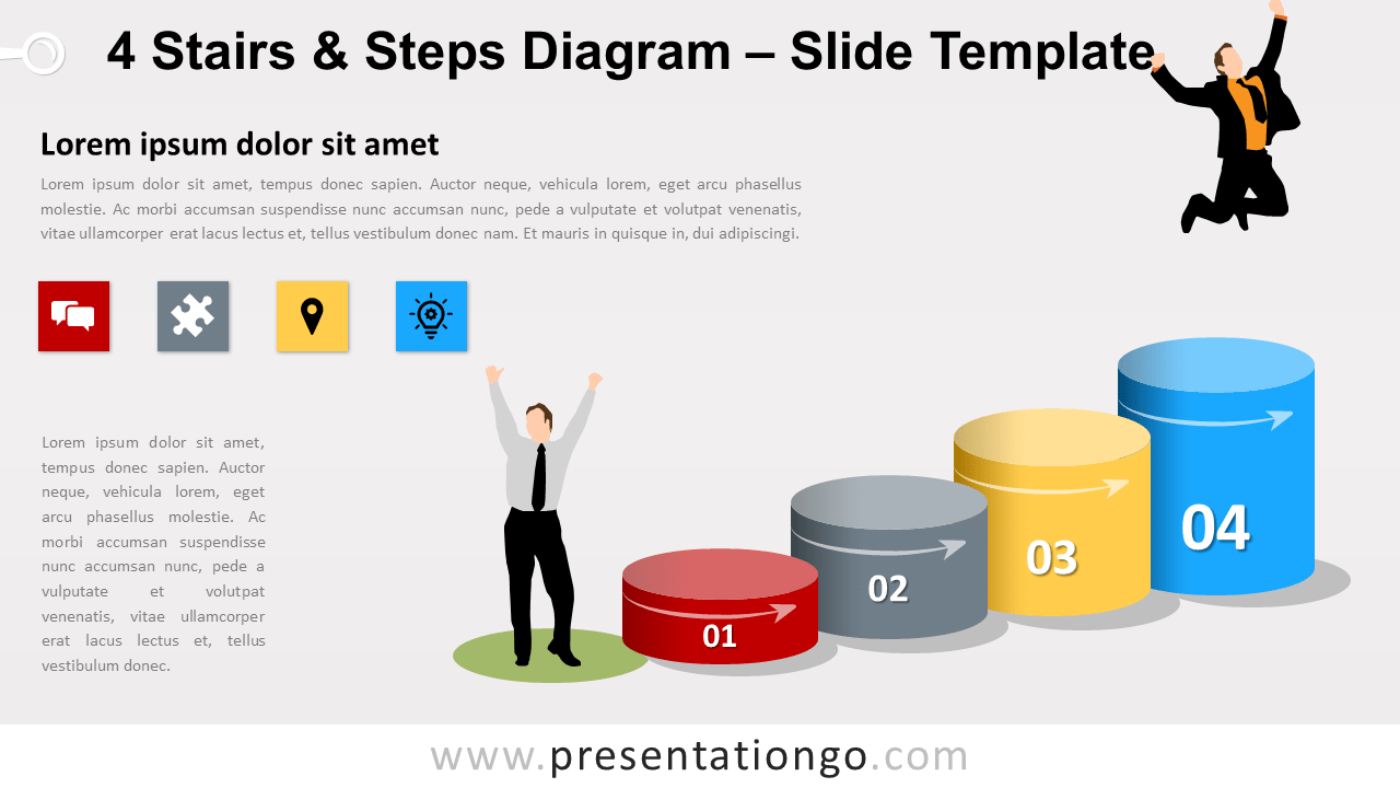 Free 4 Stairs and Steps Diagram for PowerPoint and Google Slides