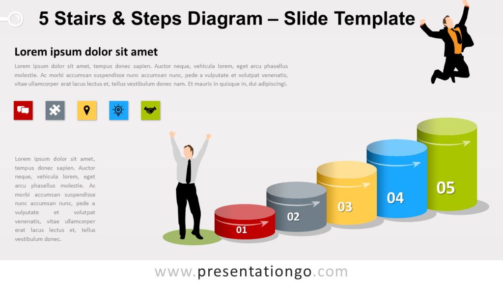 Free 5 Stairs and Steps Diagram for PowerPoint and Google Slides