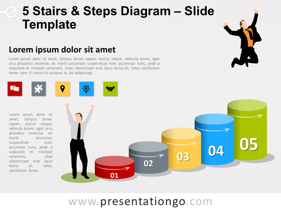 Free 5 Stairs and Steps Slide Template