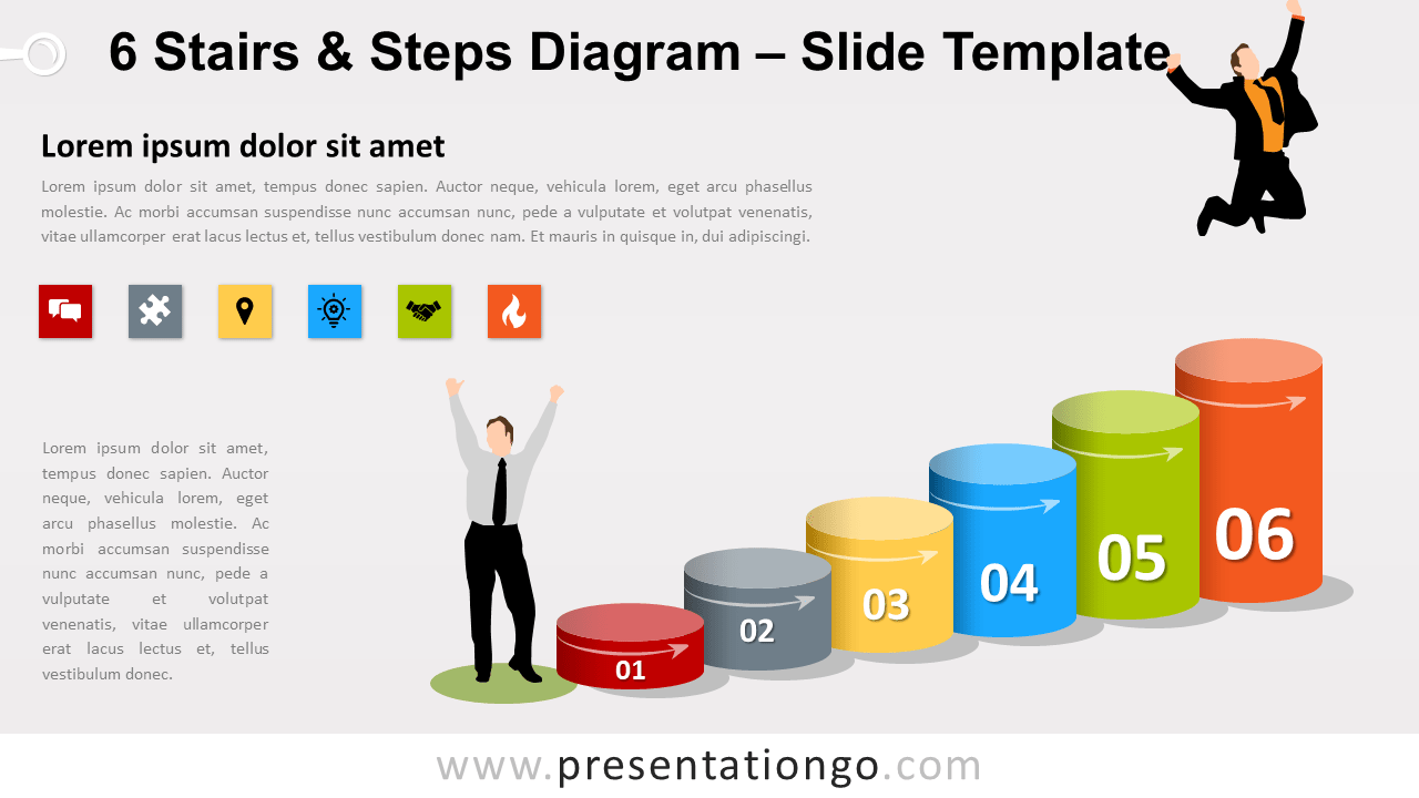Free 6 Stairs and Steps Diagram for PowerPoint and Google Slides
