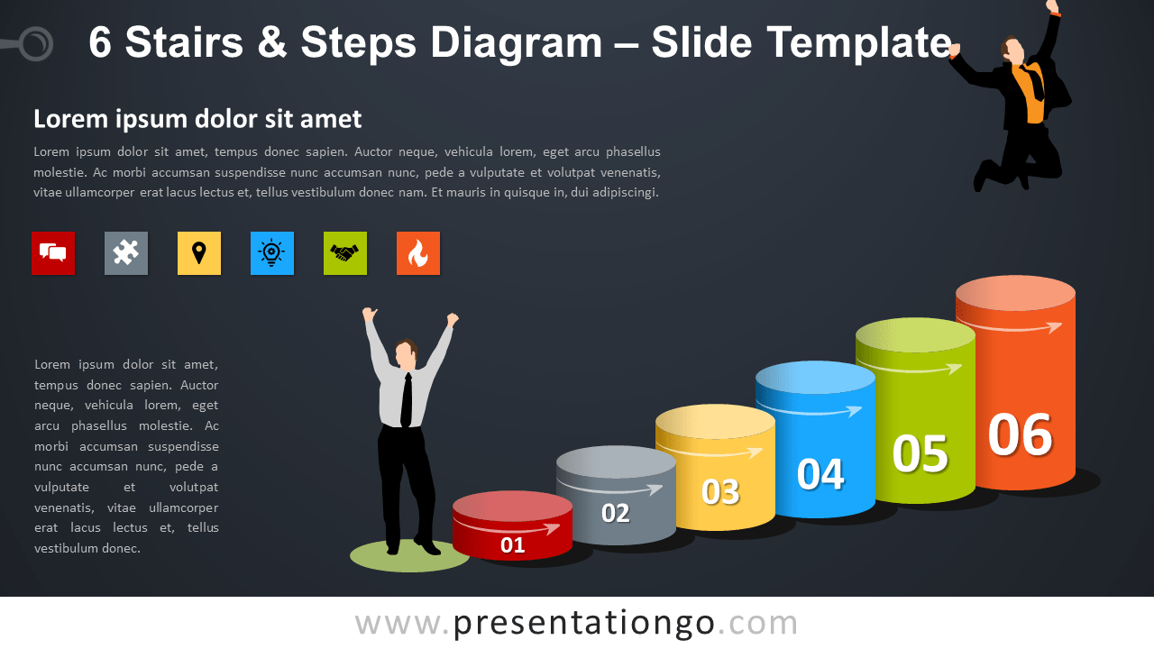 Free 6 Stairs and Steps Diagram for PowerPoint
