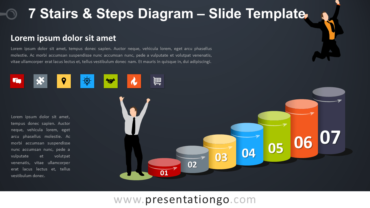 Free 7 Stairs and Steps Diagram for PowerPoint