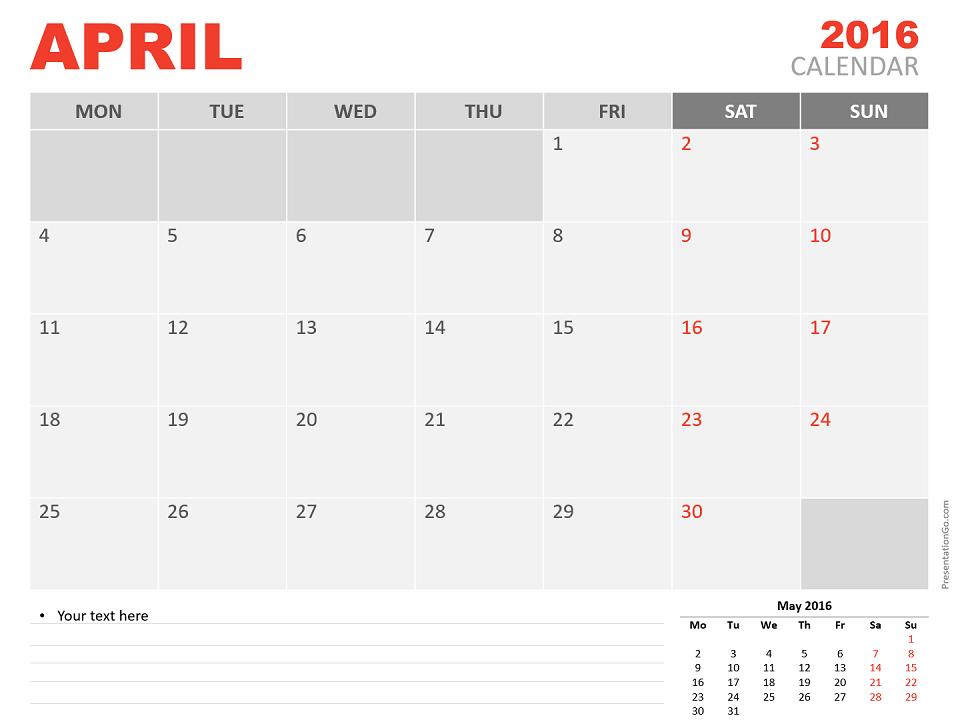Free April 2016 PowerPoint Calendar Start Monday