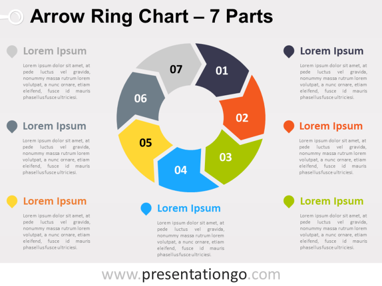 Free editable 7-Parts Arrow Ring PowerPoint Chart
