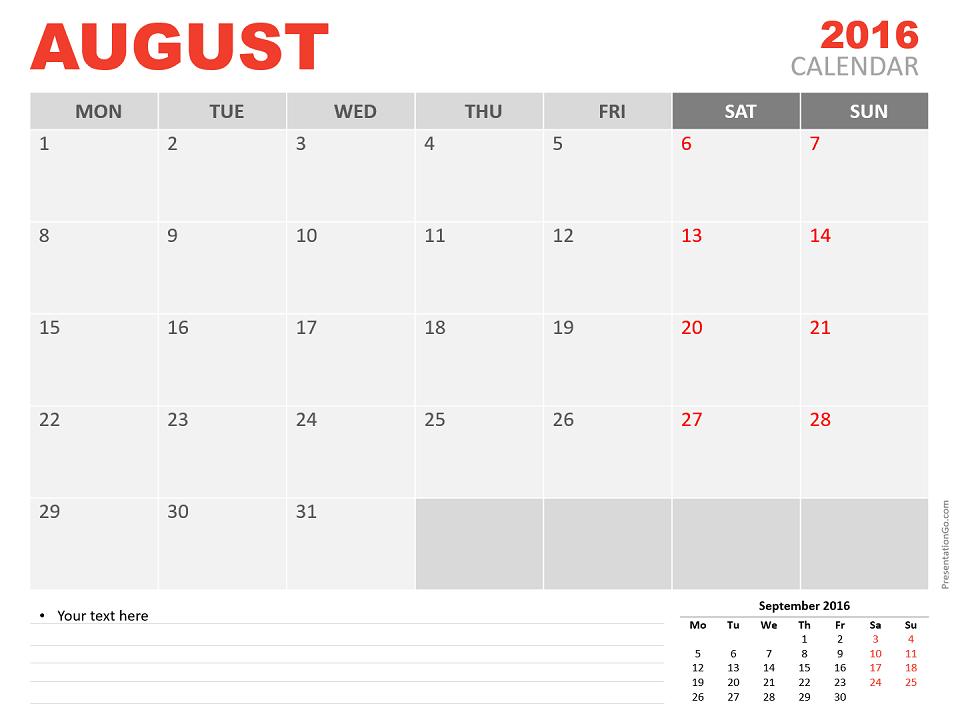Free August 2016 PowerPoint Calendar Start Monday