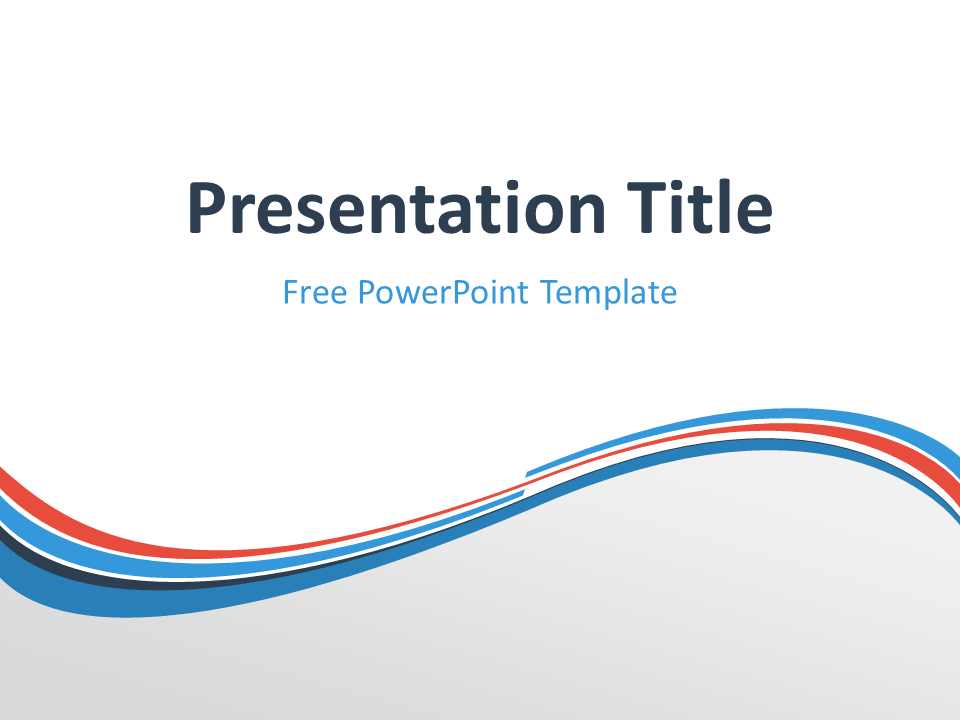 Abstract Free Blue Orange Wave PowerPoint Template with light background