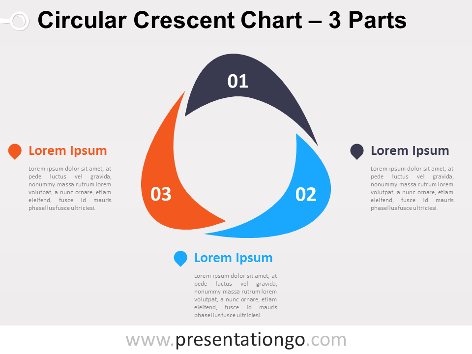 Free editable Circular Crescent PowerPoint Diagram with 3 Parts