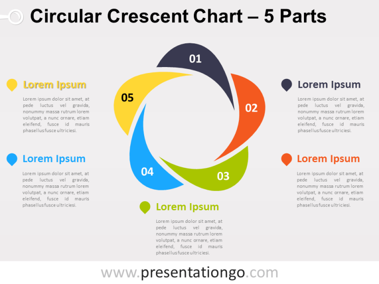 Free editable Circular Crescent PowerPoint Diagram with 5 Parts
