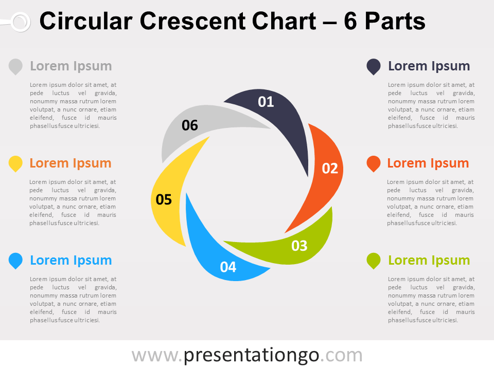 Free editable Circular Crescent PowerPoint Diagram with 6 Parts