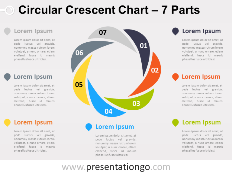 Free editable Circular Crescent PowerPoint Diagram with 7 Parts