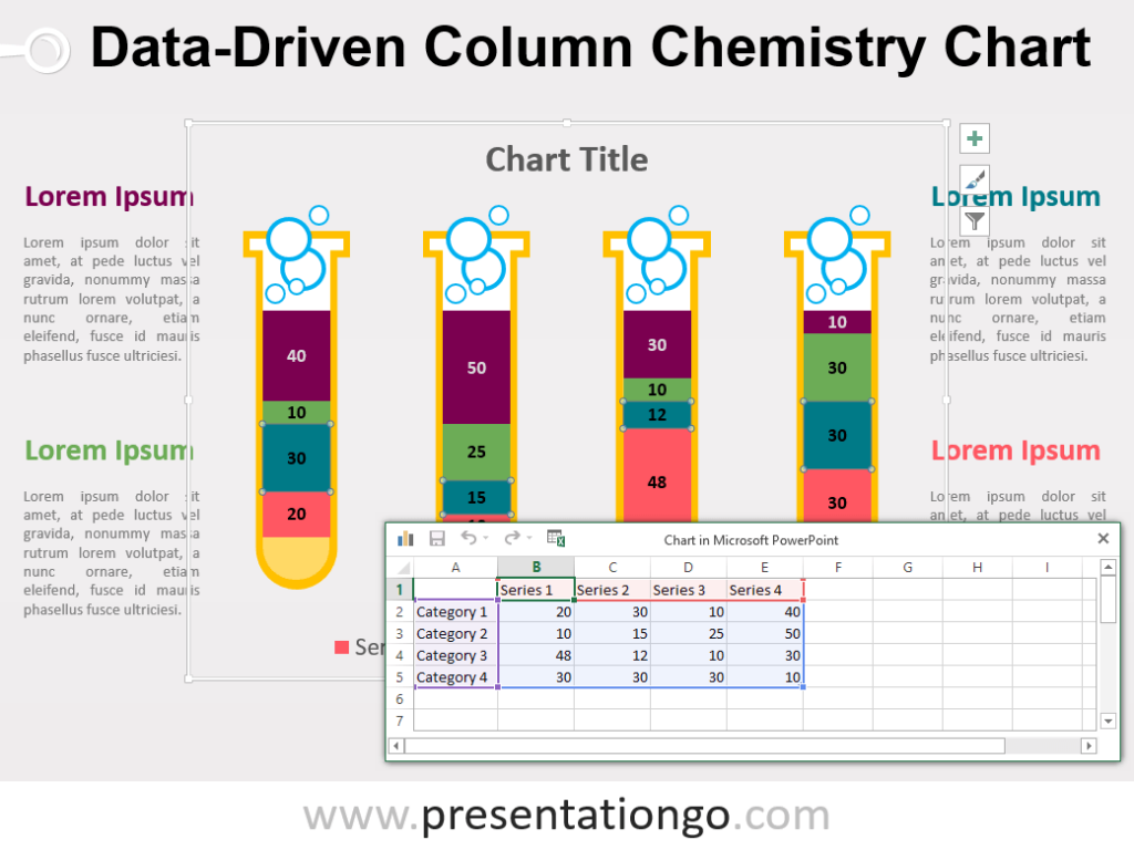 Free Data-Driven PowerPoint Column Chart with editable test tubes