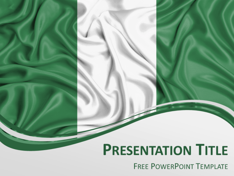 Free PowerPoint template with flag of Nigeria background