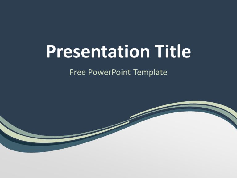 Abstract Free Grayish Wave PowerPoint Template Dark Blue Background