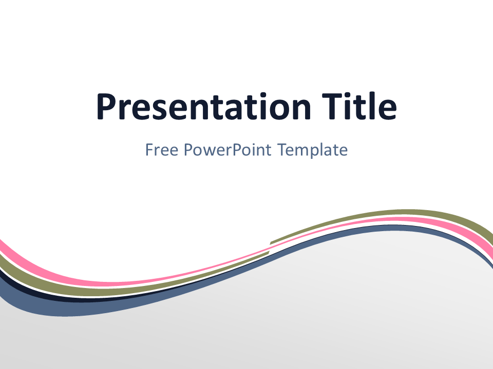 Free Pink Abstract Wave PowerPoint Template - Title Slide With Light Background