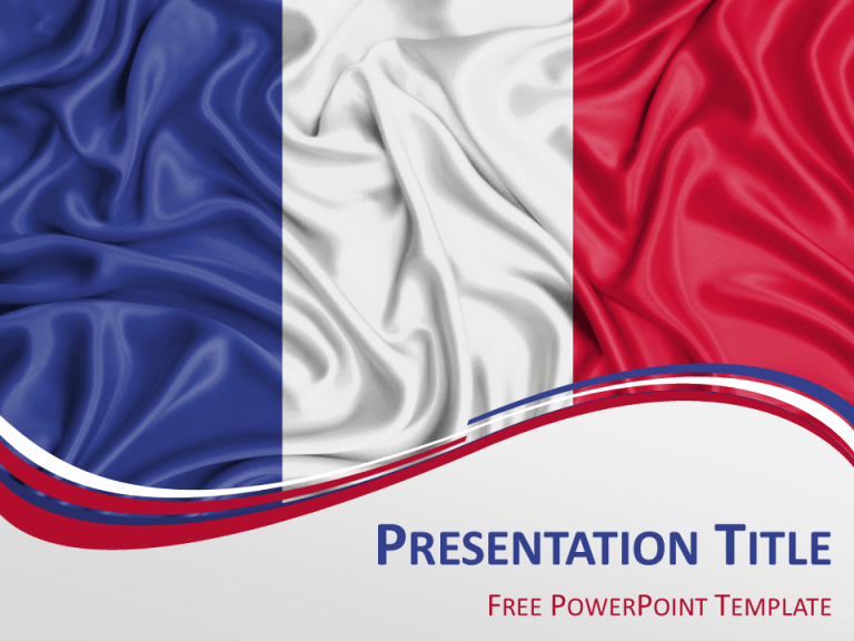 Free PowerPoint template with flag of France background