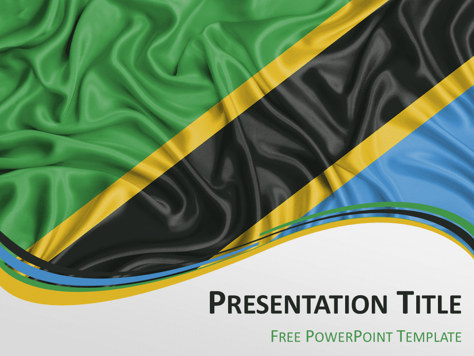 Free PowerPoint template with flag of Tanzania background