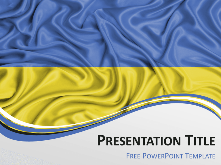 Free PowerPoint template with flag of Ukraine background