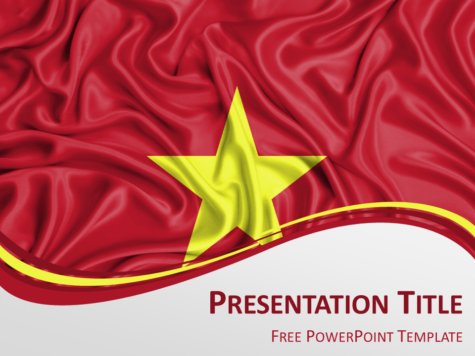 Free PowerPoint template with flag of Vietnam background