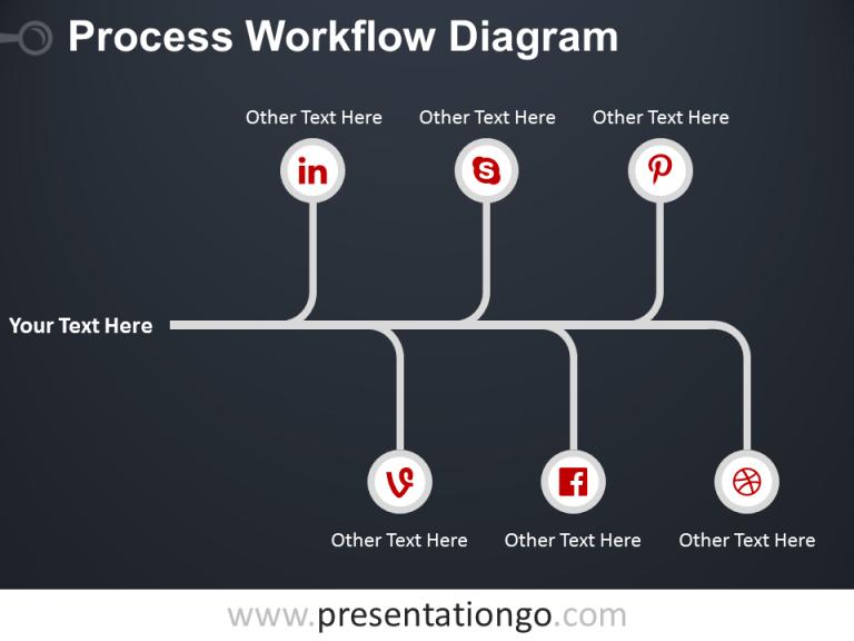 Free Process Workflow PowerPoint Diagram Dark Background