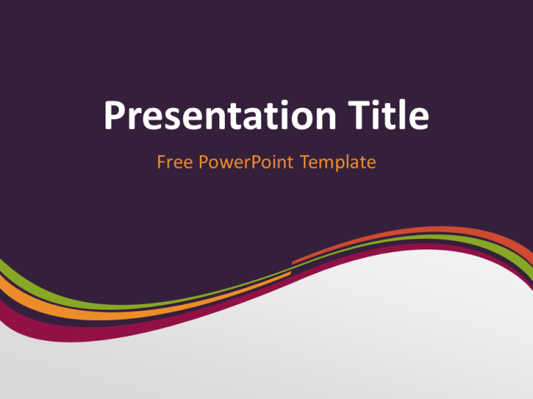 Free Purple Abstract Wave PowerPoint Template - Title Slide With Dark Background