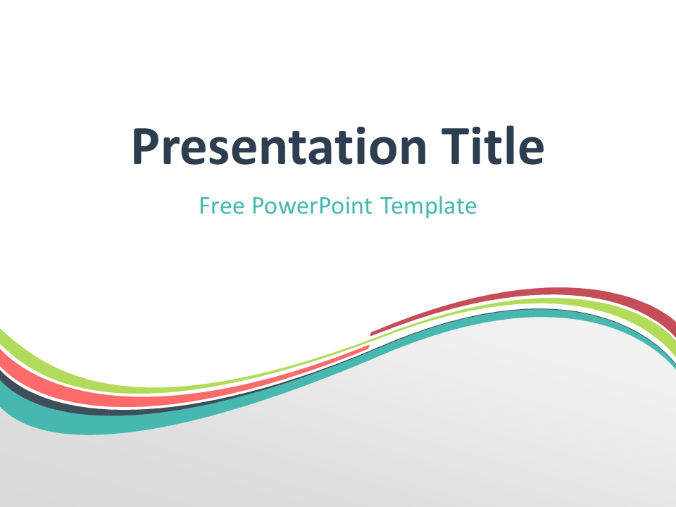 Free Verdigris Abstract Wave PowerPoint Template - Title Slide With Light Background
