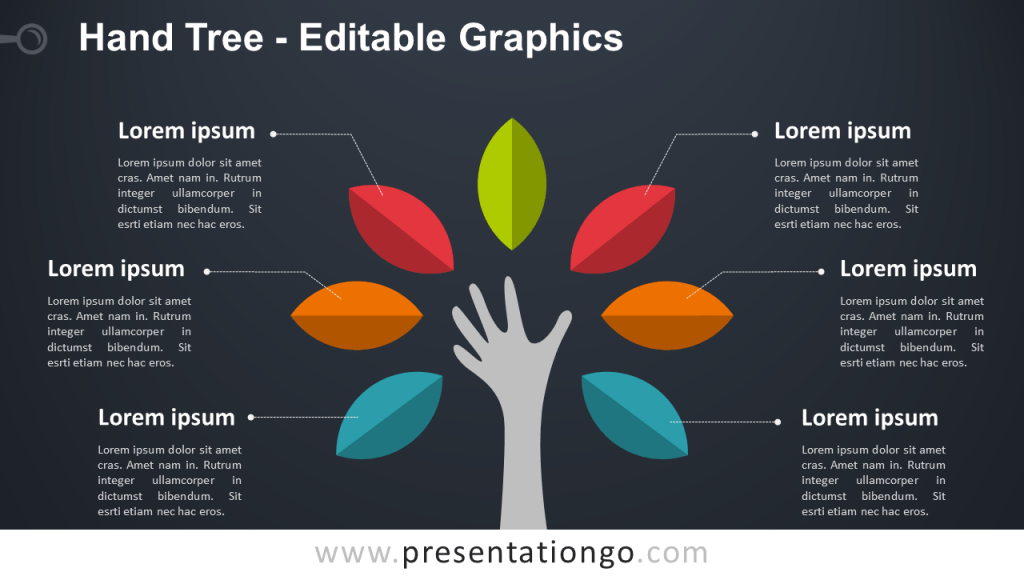 Free Hand Tree PowerPoint Diagram - Dark Background - Widescreen size (16:9)