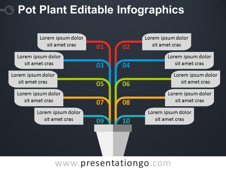 Free Pot Plant PowerPoint Diagram - Dark Background