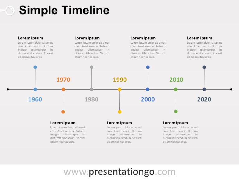 Free editable Simple Timeline PowerPoint Diagram