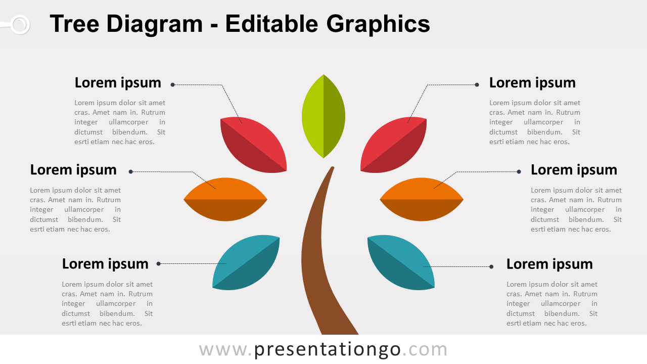 Free Simple Tree PowerPoint Diagram with Colored Leafs - Widescreen size (16:9)