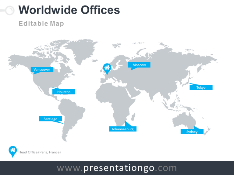 Free Worldmap Wordwide Offices PowerPoint Template