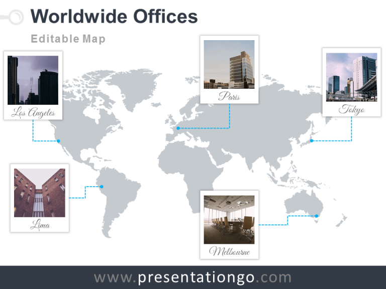 Free and editable PowerPoint worldmap with Polaroid frames for your offices