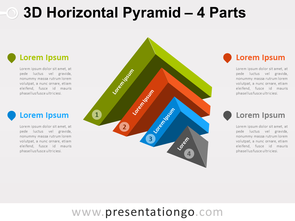 Free 3D Horizontal Pyramid for PowerPoint