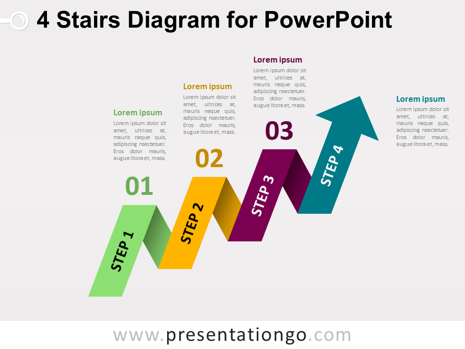 Free 4-Staged Arrow Stair PowerPoint Diagram