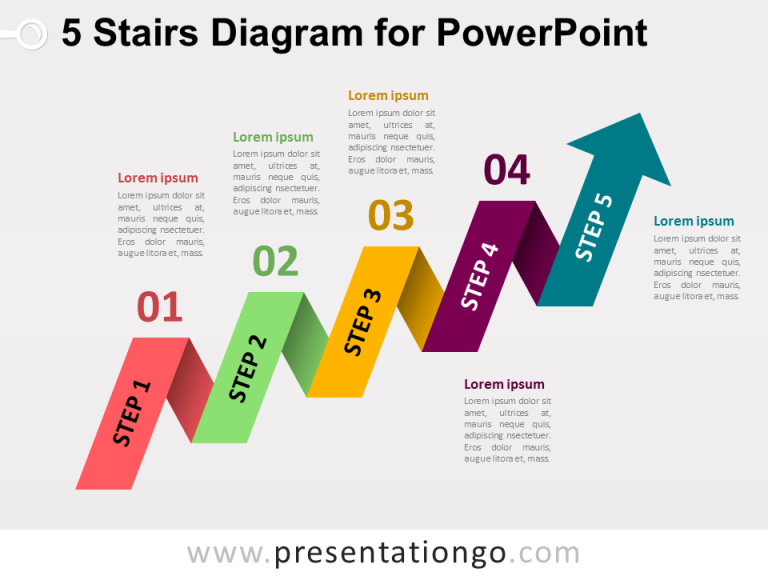 Free 5-Staged Arrow Stair PowerPoint Diagram