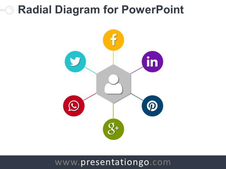 Free Radial PowerPoint Diagram with Hexagon as central point