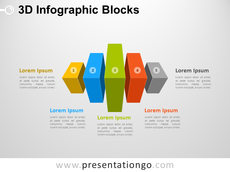 Free 3D Infographic Cube Blocks Diagram for PowerPoint
