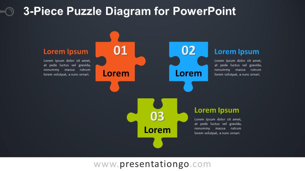 Free 3-Piece Puzzle Diagram for PowerPoint - Dark Background