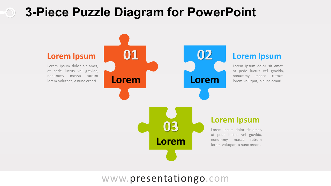 Free 3-Piece Puzzle Diagram for PowerPoint
