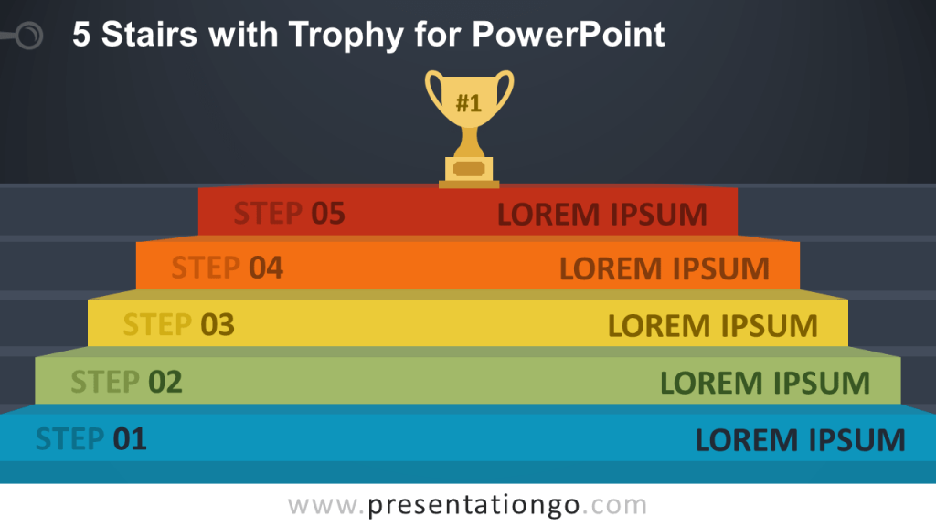 Free 5-Stairs Trophy Diagram for PowerPoint - Dark Background