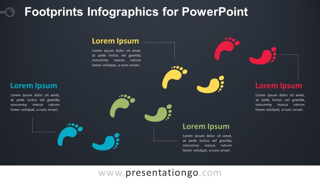 Free Footprints for PowerPoint - Dark Background