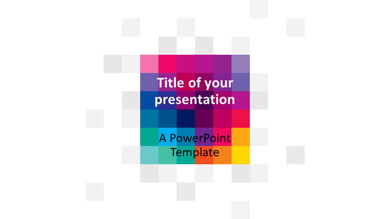 Free Modern Colorful Pixels PowerPoint Template - Widescreen