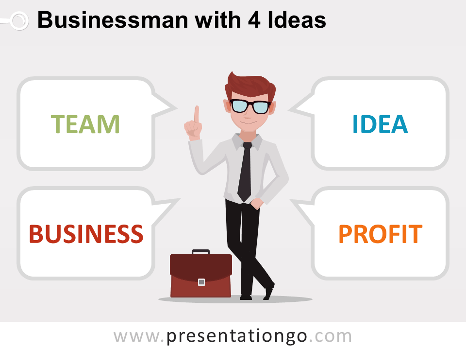 Businessman with 4 ideas - Free PowerPoint Template
