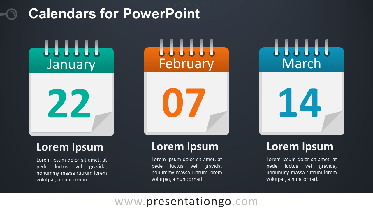 3 Calendars for PowerPoint - Dark Background