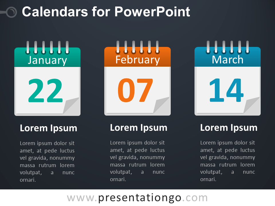3 Calendars PowerPoint Diagram - Dark Background