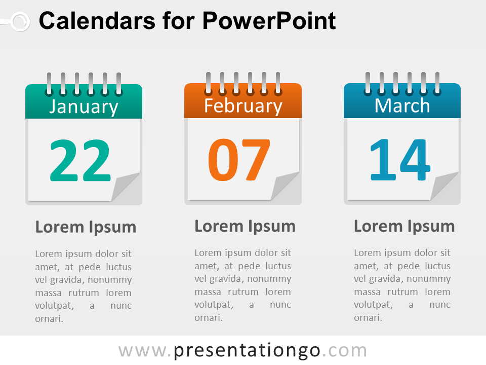 3 Calendars PowerPoint Diagram
