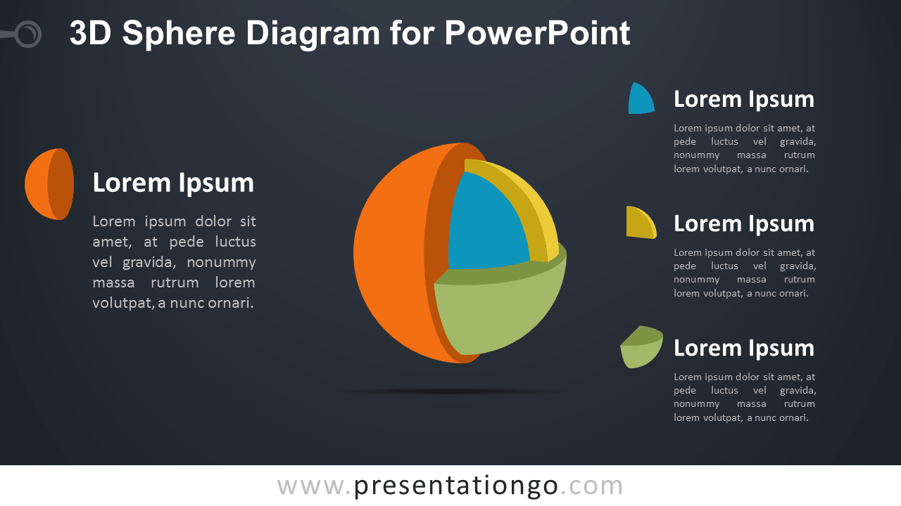 3D Sphere Diagram for PowerPoint - Dark Background