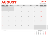 Free August 2017 PowerPoint Calendar Start Sunday